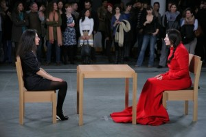 Marina Abramović performing The Artist Is Present at the Museum of Modern Art, New York, 2010 (photograph: Scott Rudd)