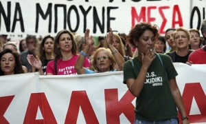 Greek protestors in Thessaloniki (The Guardian)aloniki on 7 September